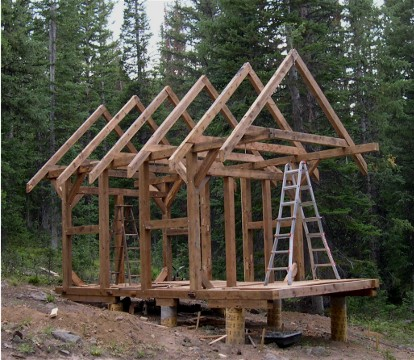 The timber framed cabin project part 1 april september for Steel frame cabin